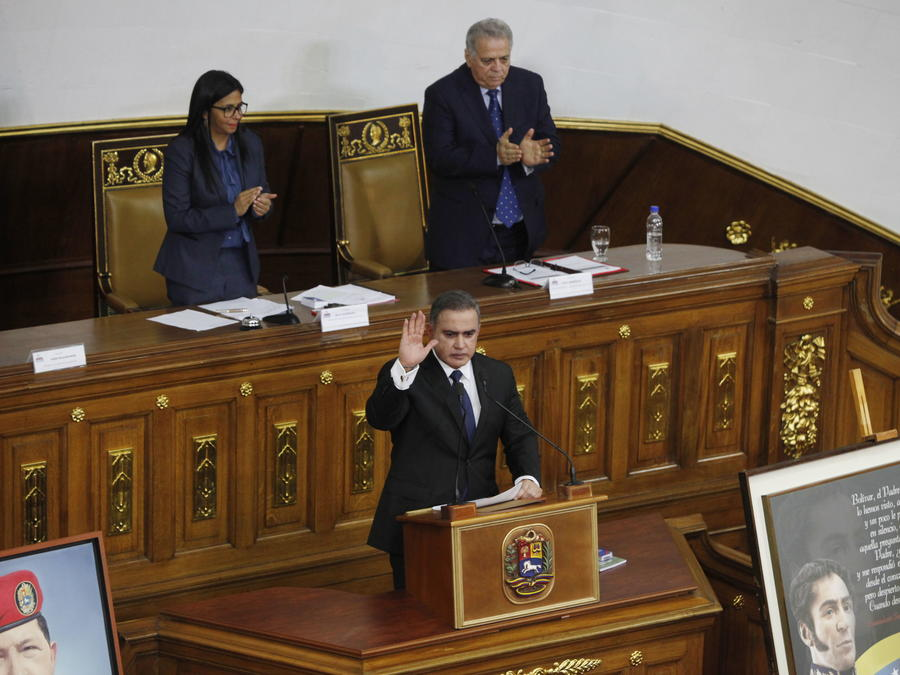 El fiscal general de Venezuela, Tarek William Saab, quien participa en una sesión de la Asamblea Nacional Constituyente el jueves 17 de agosto de 2017, en Caracas (Venezuela).