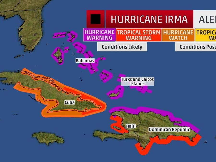 Mapa con los vientos que arrastra el huracán Irma