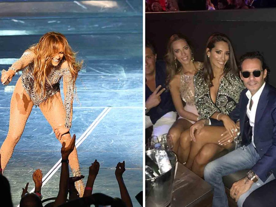 Marc Anthony and His New GF Crash JLo's Vegas Show for His Birthday