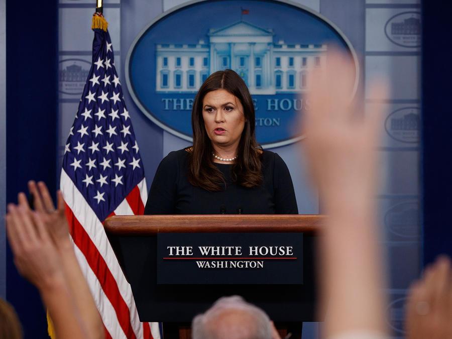 Sarah Huckabee Sanders en conferencia de prensa el lunes 25 de septiembre del 2017