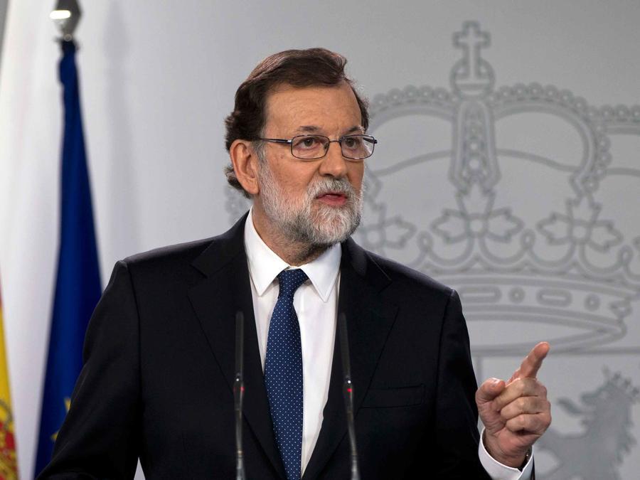 Presidente del gobierno español, Mariano Rajoy, en conferencia de prensa