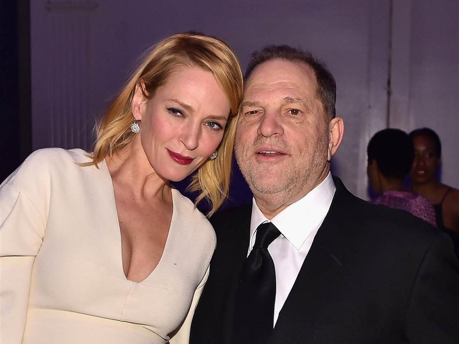 Uma Thurman y Harvey Weinstein en la Gala amFar de Nueva York en 2016