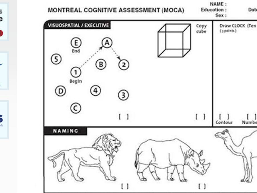 Imagen de la página web del Departamento de Veteranos con el examen MOCA.