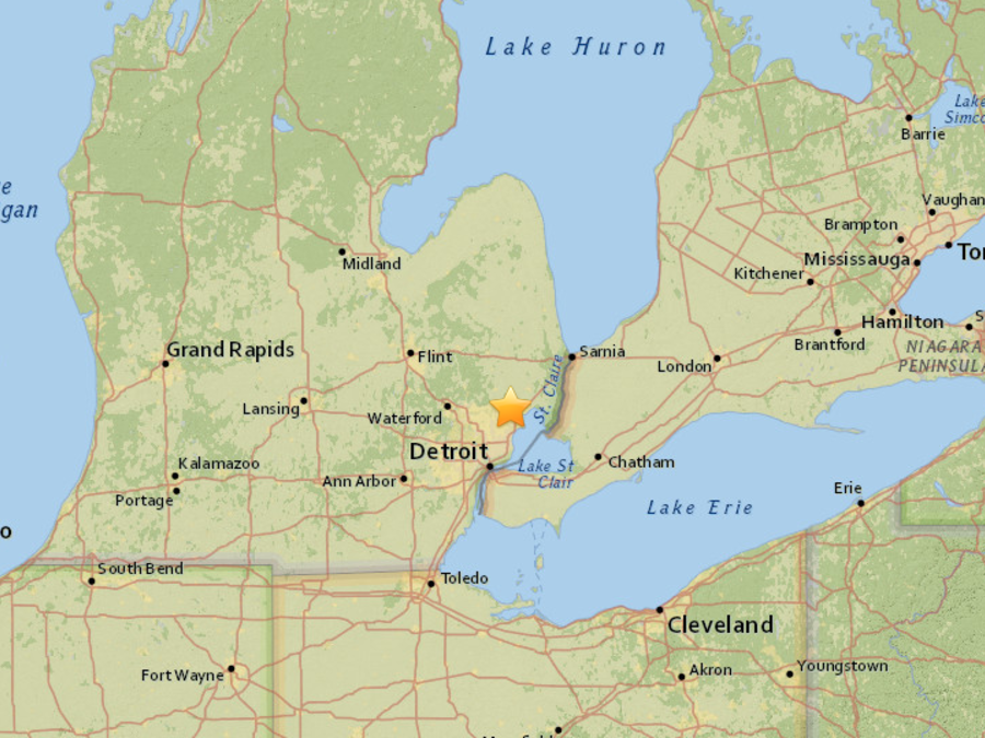 Punto en el que cayó un meteorito en Detroit según la NWS.