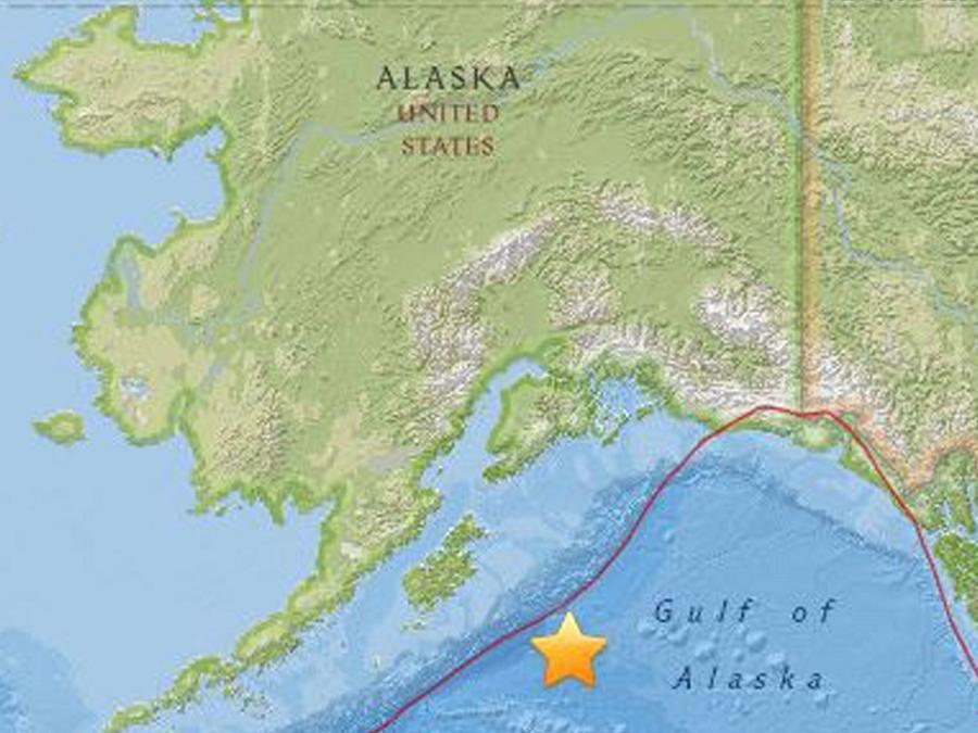 Mapa facilitado por el USGS que muestra la localización de un terremoto de 7.9 en la escala de Richter localizado a una profundidad de 10 kilómetros a 278 kilómetros al sureste de la ciudad de Kodiak, Alaska, EEUU.