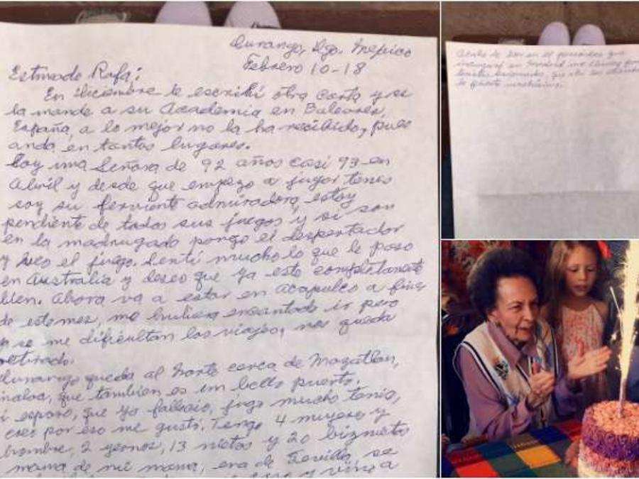 Una mexicana de 92 años le escribió una emotiva carta a Rafael Nadal