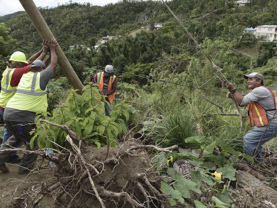 Labores de reconstrucción para devolver el suministro eléctrico a la isla, el pasado 31 de enero en Coamo, Puerto Rico.