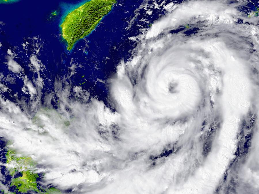 Vista aérea de un huracán