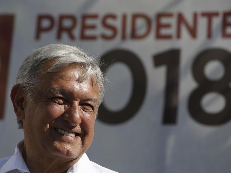 Andrés Manuel López Obrador, durante un acto de campaña en la Ciudad de México, el 20 de abril de 2018.