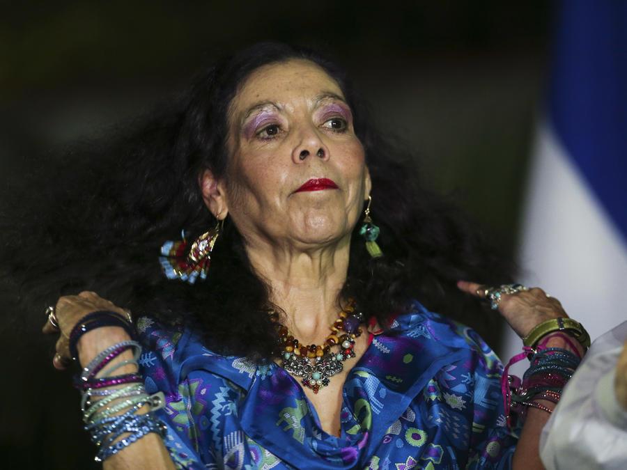 Rosario Murillo durante las elecciones de 2016 (AP Photo/Esteban Felix)
