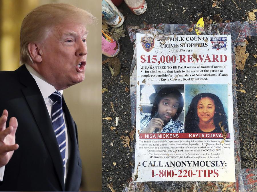 Trump, durante un discurso, y, a la derecha, un memorial por víctimas de la MS-13 en Long Island.