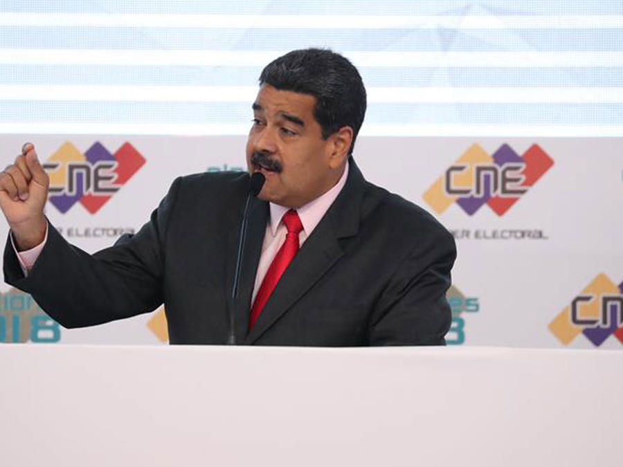 El presidente de Venezuela, Nicolás Maduro, en la ceremonia de su reelección