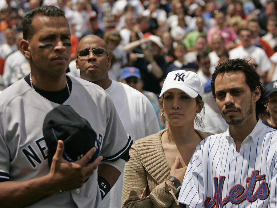 Alex Rodriguez con Jennifer Lopez y Marc Anthony en 2005