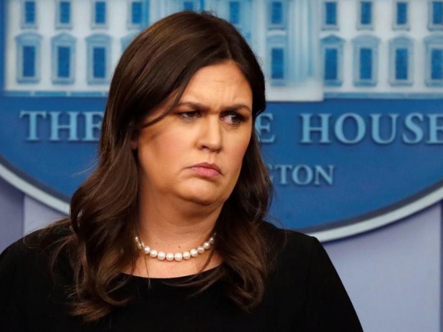 La responsable de prensa de la Casa Blanca, Sarah Sanders, este jueves.