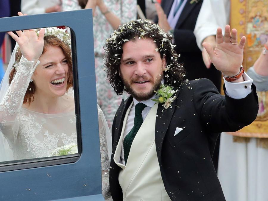 Kit Harington y Rose Leslie el día de su boda