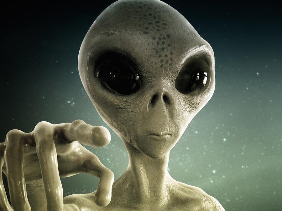 Ser extraterrestre apuntando con el dedo