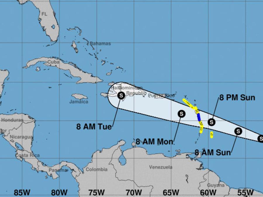 Mapa de tormenta tropical Beryl