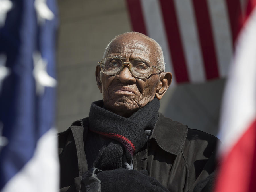 Richard Overton, durante un ceremonia de homenaje a los veteranos en 2013 en Arlington (Virginia).