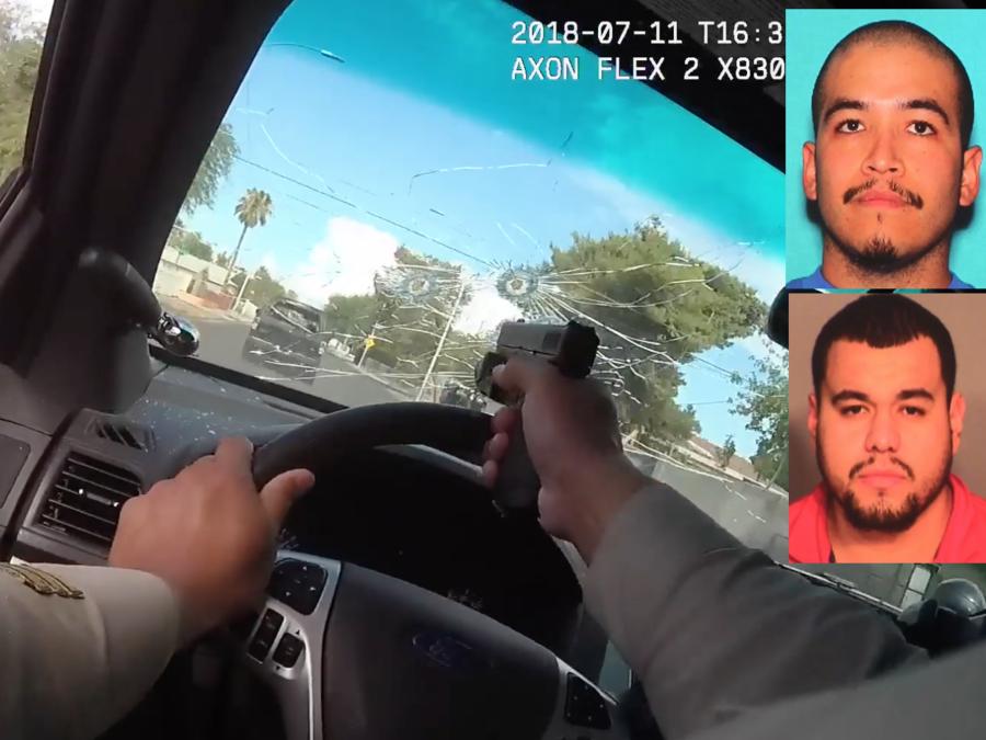Imagen de la grabación policial de la persecución. A la derecha, fotos de Núñez y Miranda.