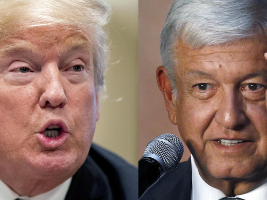 Trump (izquierda) y López Obrador, en sendas imágenes de archivo.