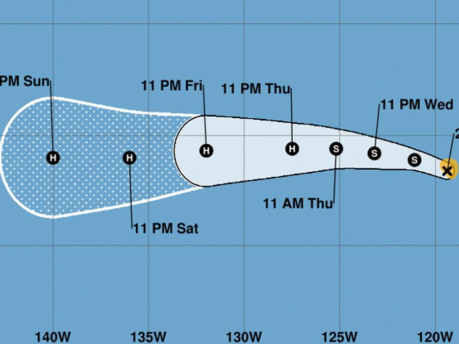 Mapa de la tormenta tropical Héctor