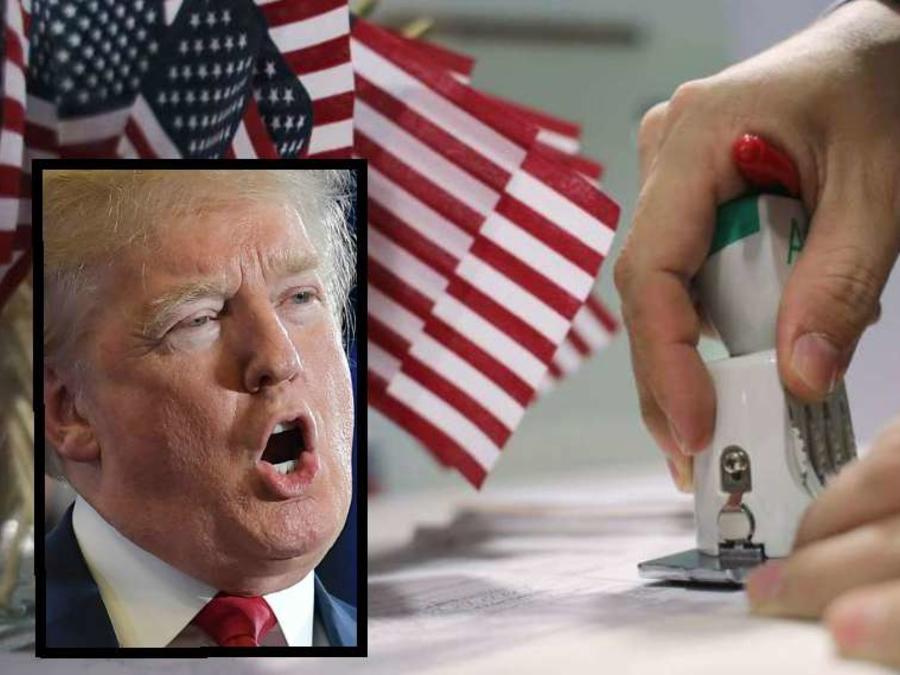 Compuesto de una foto del presidente Trump