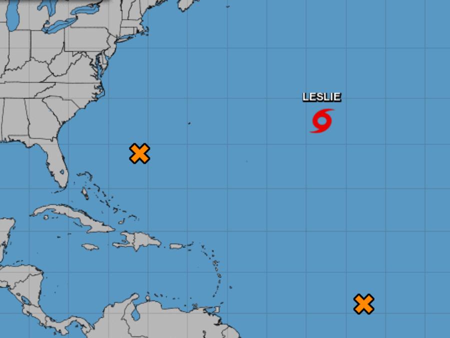 La tormenta Kirk se desvanece y Leslie no representa peligro