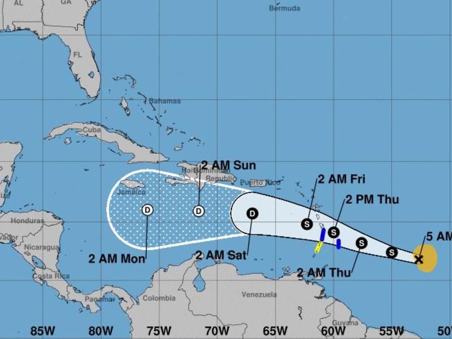 Se espera que Kirk deje entre 4 y 6 pulgadas de lluvia, con máximos de 10, en zonas de las Antillas Menores.