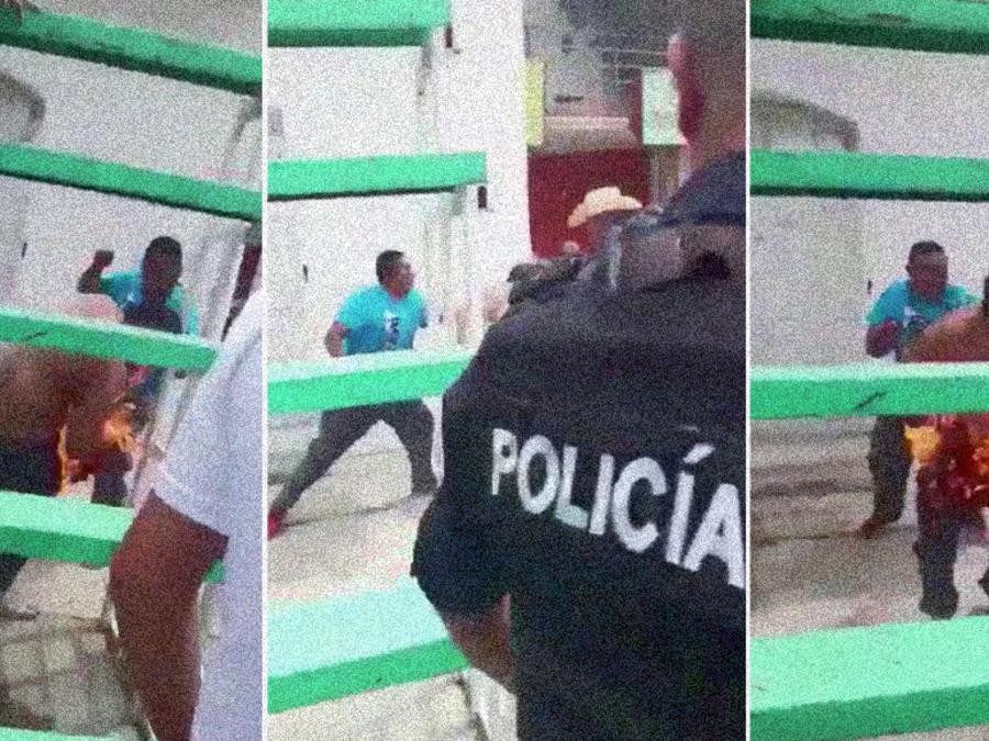 Al menos un agente de la policía se observa en el video mientras que el hombre arde.