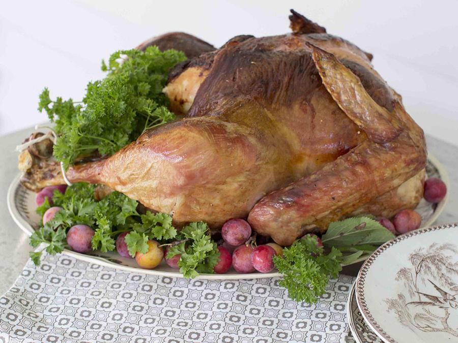 La imagen muestra un pavo entero cocinado en el horno.