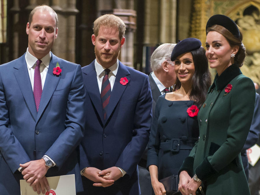 El príncipe William, el príncipe Harry, Meghan Markle y Kate Middleton