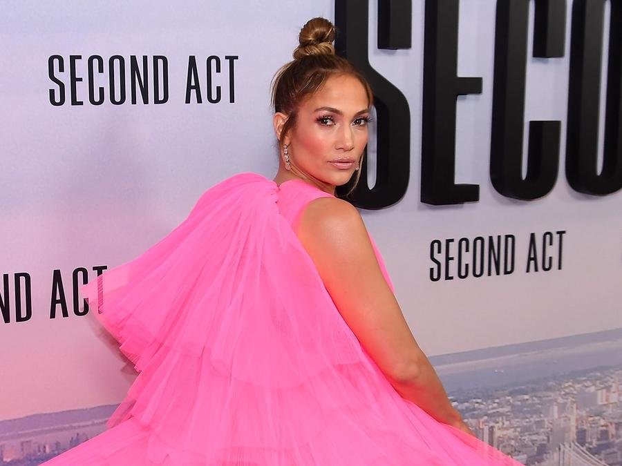 Jennifer Lopez walks Second Act premiere carpet.