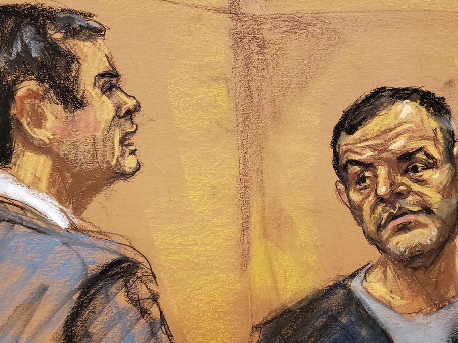 El Chapo en la audiencia por el jucio en su contra ayer