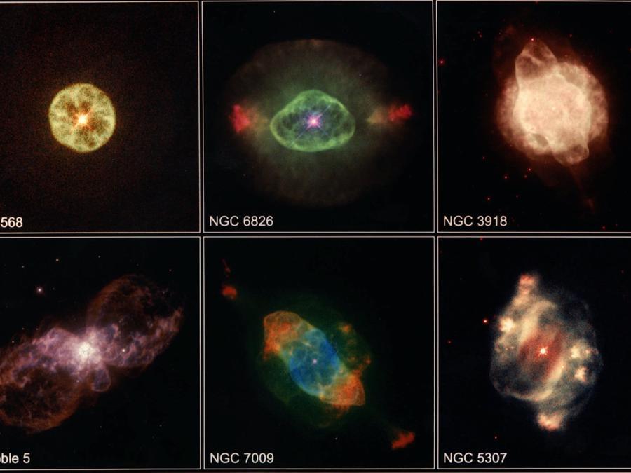 Imágenes capturadas por el telescopio Hubble de nebulosas situadas a miles de años luz de la Tierra.