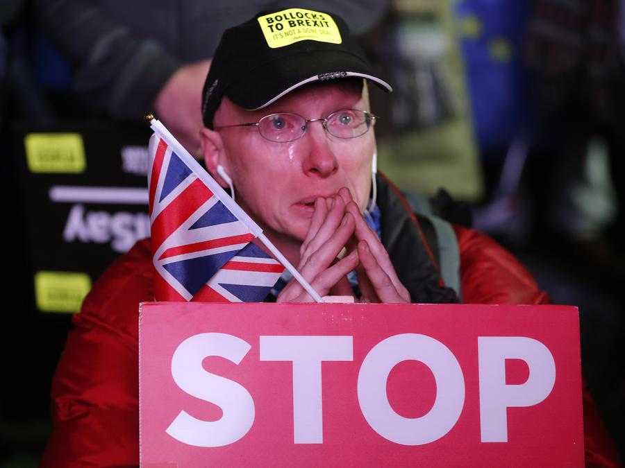 Un manifestante en contra de la salida de Reino Unido de la Unión Europea, este martes en Londres.
