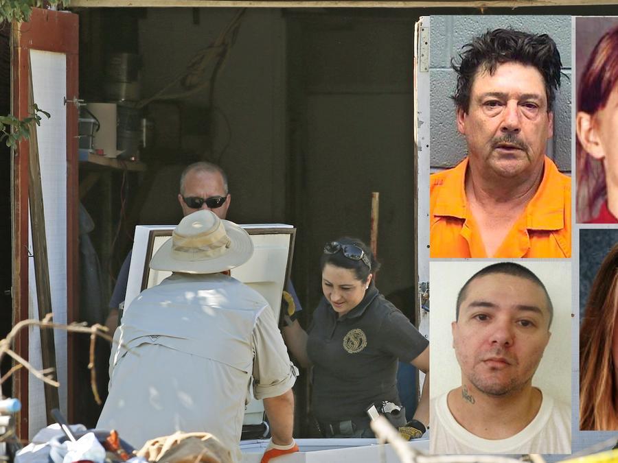 Rastreo en la casa de Palma en octubre de 2015, tras su detención. A la derecha Palma, Pillado, Hatfield cuando desapareció, y como sería ahora de estar viva.