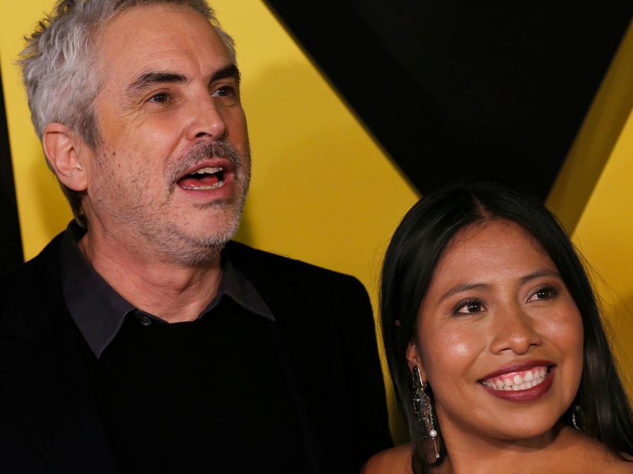 El director de la película Roma, Alfonso Cuarón, y la protagonista Yalitza Aparicio en la presentación de la cinta en Ciudad de México en diciembre de 2018