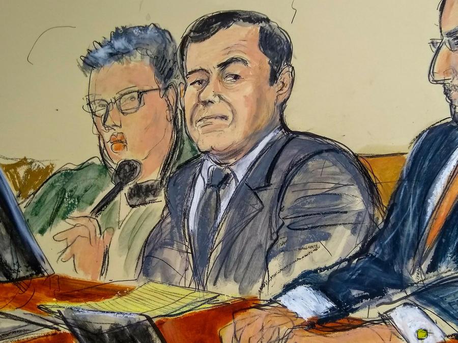 Skecht del juicio contra El Chapo