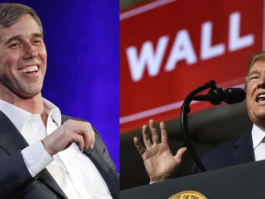 Imágenes de archivo de Beto O'Rourke (derecha) y Donadl Trump.