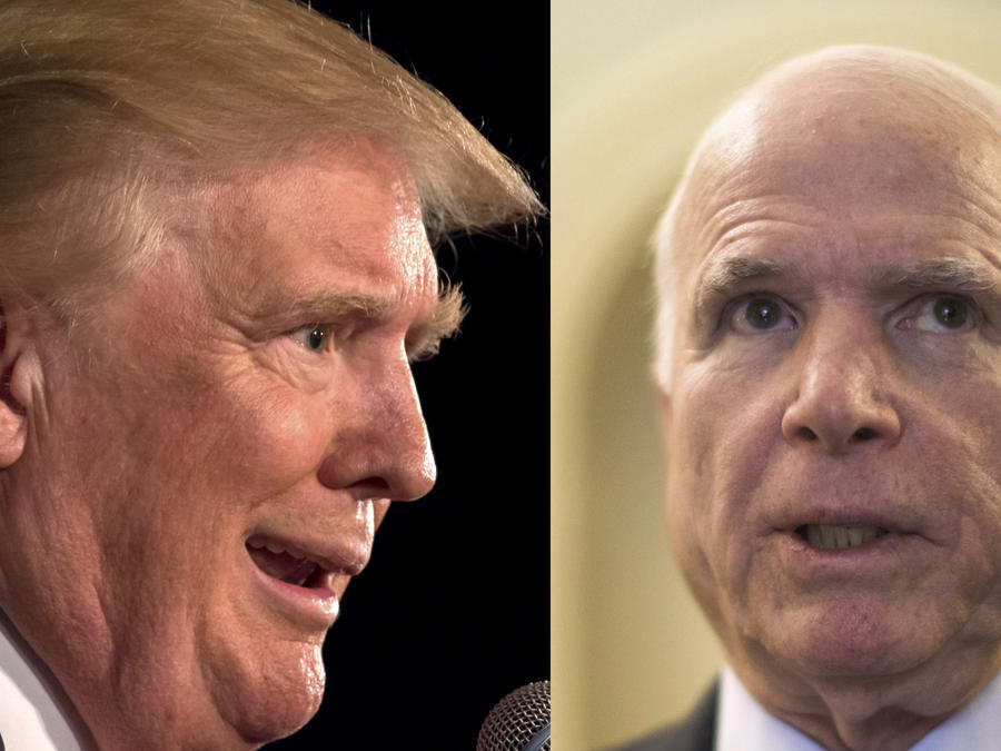 Dos imágenes de archivo de Trump (izquierda) y McCain.