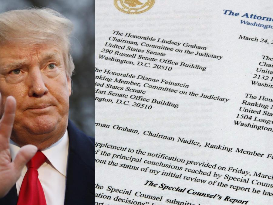 Imagen de archivo de Donald Trump y del informe enviado por el fiscal general al Congreso el pasado domingo.