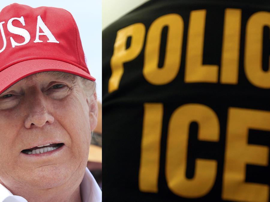 A la izquierda, Trump este viernes en Florida. A la derecha, imagen de archivo de una prenda de ropa de ICE.