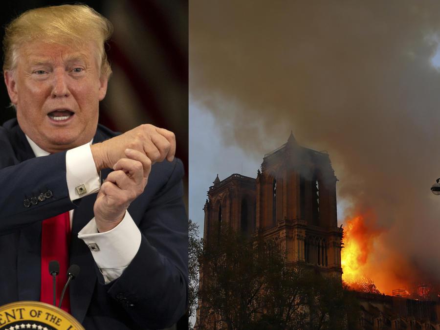 Trump, en un acto este lunes; a la derecha, el incendio en la catedral de Notre Dame de París.
