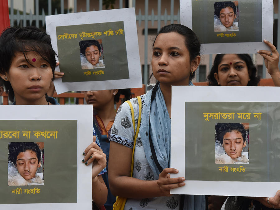 Protest Against The Murder Of Girl Student In Dhaka