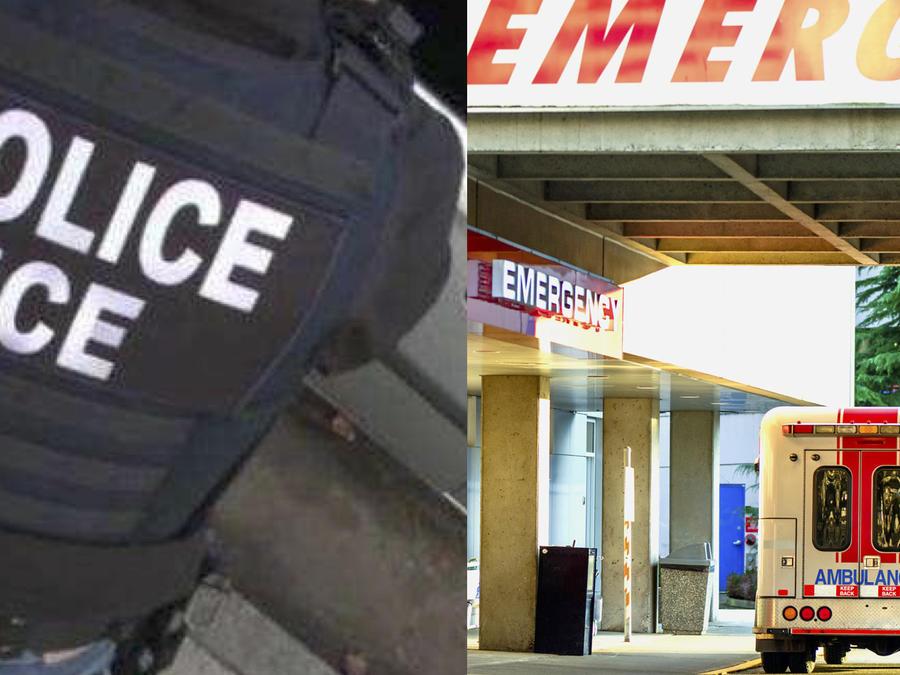 Imágenes de archivo de un agente de ICE y un edificio hospitalario de urgencias médicas.