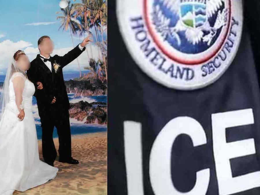 A la izquierda, una de las fotos falisificadas de boda usadas por la organización criminal. A la derecha, una identificación de ICE, en imagen de archivo.