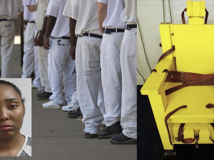 Imagen de archivo de presos en la cárcel de Elmore (Alabama). A la derecha, una silla eléctrica en este estado. A la izquierda, Latoni Daniel.
