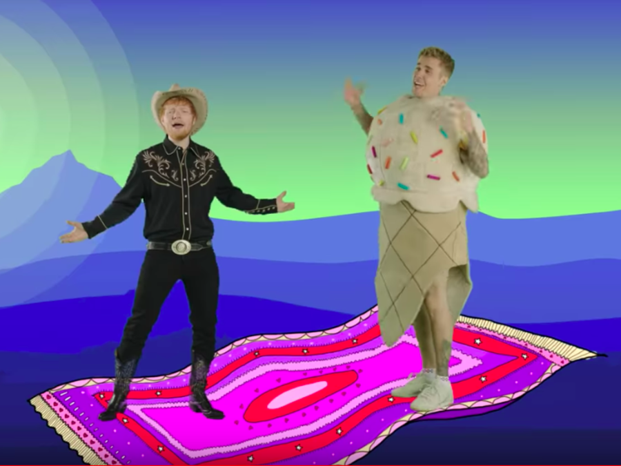 "Ed Sheeran and Justin Bieber premiere video for ""I Don't Care"""