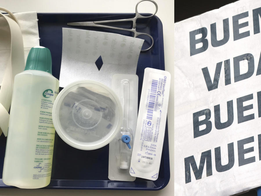 Kit de eutanasia en Holanda. A la derecha, cartel de apoyo a esta práctica en España.