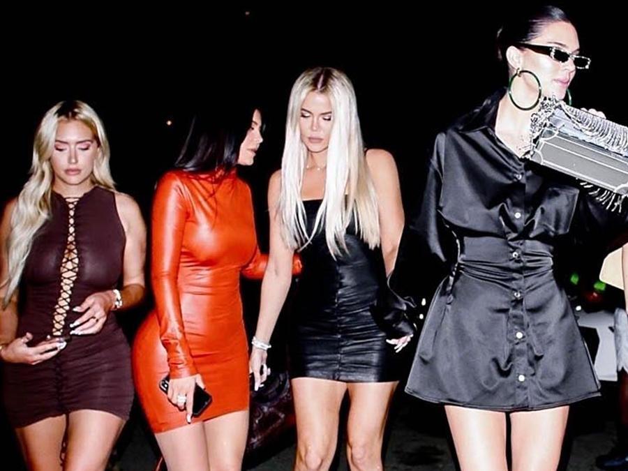 Khloé Kardashian, Kendall Jenner y Kylie Jenner en la fiesta de Larsa Pippen